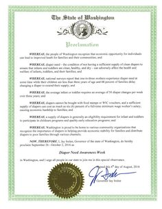 WASHINGTON - Governor Jay Inslee's proclamation recognizing Diaper Need Awareness Week (Sep. 26-Oct. 2, 2016) Diaperneed.org #diaperneed
