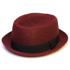 Pork Pie Hat With Black Grosgrain Band - Red - C5125ZZGN4N - Hats   Caps c6f7440395b