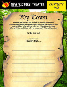 Imagine that are the founder of a brand new town - what will the rules be? What kinds of jobs, activities and ideas will you encourage? Create a document that declares the rules and regulations of your town.
