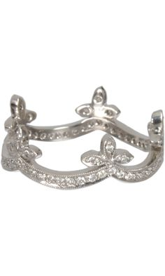 Cathy Waterman  Platinum & Diamond Half Ribbon Band