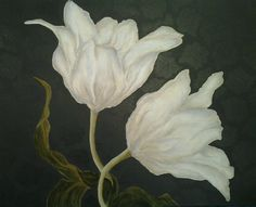 Acrylic - white flowers