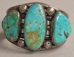 Large, beautiful Turquoise Gemstone Navajo Bracelet