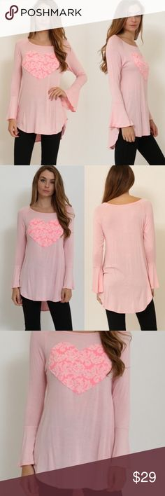 NEW Pink Heart Print Graphic Long Sleeve Tee Tunic Coming this week! PRE-ORDER. Heart Print Graphic Long Sleeve Shirt Tunic. Soft Heart Comfy. Bell Sleeve. Long length. ❤️PINK 95%RAYON 5%SPANDEX 💗look @ my closet for great deals🚫trades🚫returns-ask Q's ❤️HIGH QUALITY fast shipping💥💥PRICE FIRM IF YOU ASK FOR MORE THAN 15% DISCOUNT, YOU WILL BE BLOCKED💥💥💥💥 Made In: USA BOUTIQUE Tops Tees - Long Sleeve