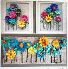 DIY Kissing Ball with Pine Cones - Crafts Unleashed@ handmade and painted pincone flowers on reused barn wood! These pi… - wood DIY ideasBeautiful handmade and painted pincone flowers on reused barn wood! Crafts To Do, Home Crafts, Crafts For Kids, Arts And Crafts, Diy Crafts, Kids Diy, Pine Cone Art, Pine Cone Crafts, Pine Cones
