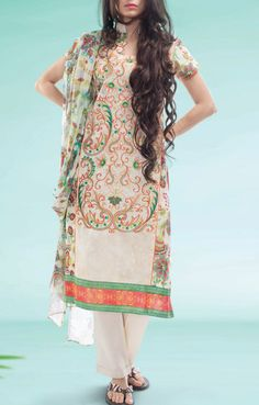 Buy Off-White Embroidered Cotton Lawn Salwar Kameez by Warda Print Lawn 2015.