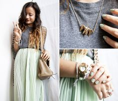 Thrifted Pearly Cardigan, H Top, Thrifted+Diy Mint Maxi Skirt, Oasap Teeth Necklace | PEACE (by Gladys D) | LOOKBOOK.nu