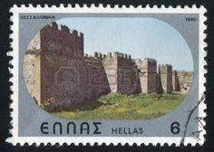 Picture of GREECE - CIRCA stamp printed by Greece, shows Byzantine castle of Thessalonica, circa 1980 stock photo, images and stock photography. Greek Castle, Stamp Printing, Andorra, Byzantine, Postage Stamps, Culture, Stock Photos, Printed, Natural
