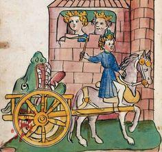 Detall:  La légende du roi Arthur Gottfried de Strasbourg, Tristan et Isolde L'histoire de Tristan en allemand Haguenau (Alsace), vers 1447-1449 ou 1455 Papier