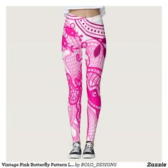 Vintage Pink Butterfly Pattern Leggings by BOLO Designs.
