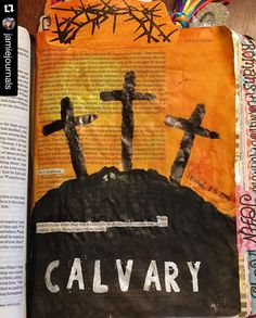 """Yesterday's Post.  #Repost @jamiejournals  Good Friday - Luke 23:33 """"And when they came to the place that is called The Skull (Calvary) there they crucified him and the criminals one on his right and one on his left."""" #biblestudy #bibleartjournal #biblejournaling #biblejournalingcommunity #goodfriday #crucified #thecrucifixion #illustratedfaith #creativeworshipteam @growingmeadows @sweetnsassystamps by mcnabrat"""