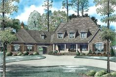 The Plan Collection: Front Elevation of European Style Luxury House # 153-1945