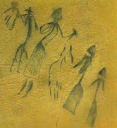 Baile femenino rodeando a un hombre en una pintura de la Roca dels Moros de Cogul