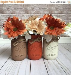 ON SALE Fall Mason Jars, Fall Home Decor, Fall Table Decor, Rustic Table Decor , Rustic Fall Decor, Rustic Mason Jars, Fall Centerpiece by CBCraftyCreations on Etsy