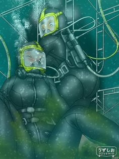 Scuba Girl, Illustrations And Posters, Smooth Skin, Master Chief, Diving, Latex, Bodysuit, Animation, Japan