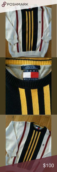 VINTAGE 90s TOMMY HILFIGER Mens XL colorblock stri Very nice vintage stripe knit sweater Tommy Hilfiger Sweaters Crewneck