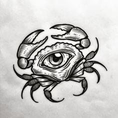 Creepy Tattoos, Old Tattoos, Black Tattoos, Body Art Tattoos, Sleeve Tattoos, Tattoo Sketches, Tattoo Drawings, Crab Tattoo, Desenhos Cartoon Network