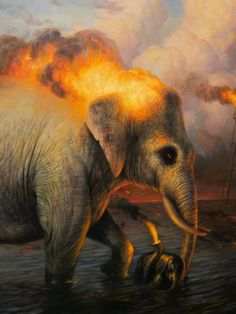 Martin Wittfooth, The Baptism , detail