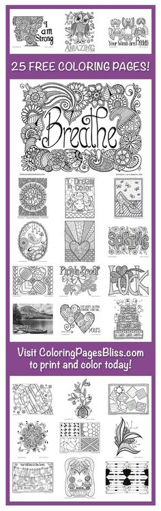 FREE coloring pages for adults. Visit ColoringPagesBliss.com to download and print 25 beautiful coloring pages. Hand drawn by Jennifer Stay, these PDF coloring pages are ideal for stress relief, creative expression, and fun! Also find, over 100 other coloring pages for grown ups on her website. Jennifer is always adding more so follow her on Facebook and Pinterest so you never miss any free coloring pages.