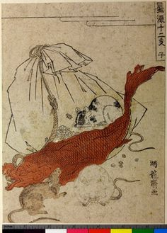 Woodblock print. Popular culture. Rat. Nishiki-e on paper.