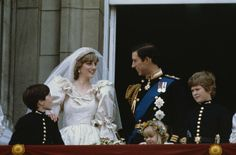 The Newlywed Wales'~HRH Charles and Diana on the balcony of Buckingham Palace.  Their page boys are Prince Charles' godsons Nicholas Windsor and Edward van Cutsem and the bridesmaid is Clementine Hambro.