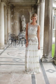 Gorgeous 1920s inspired wedding dress with beaded detail