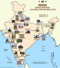 Thank god in India there is no dearth of cultural heritage spots. Here are some lesser known World Heritage Sites in India as deemed by the UNESCO. Geography Activities, Geography Map, Teaching Geography, World Geography, India World Map, India Map, Agra, Jodhpur, Indian River Map