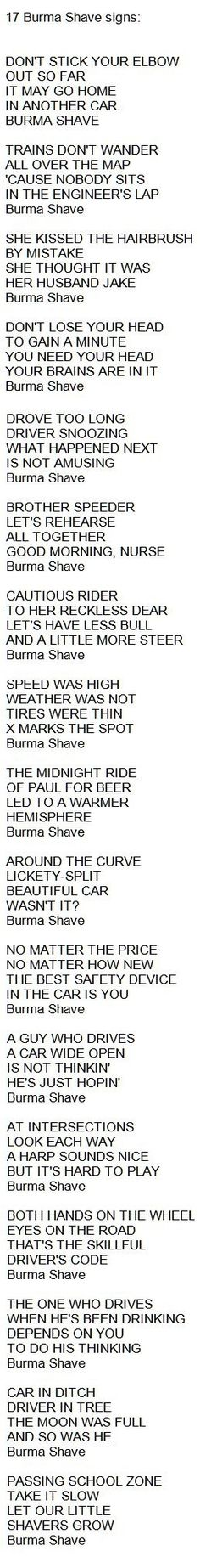 The Words to 17 Burma Shave Signs