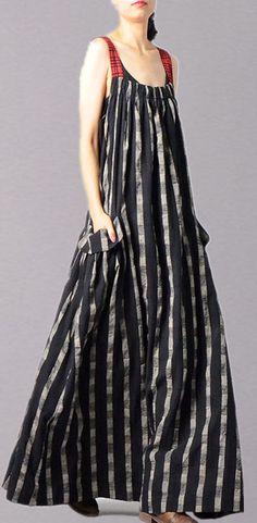 Italian black patchwork linen Robes sleeveless Traveling fall Dress Baggy Dresses, Fall Dresses, Cotton Dresses, Stylish Dresses, Women's Fashion Dresses, New Long Dress, Pretty Summer Dresses, Cozy Clothes, Summer Clothes