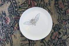 Ceramic Art Plate Woodland Cicada Locust by ShadyGrovePottery