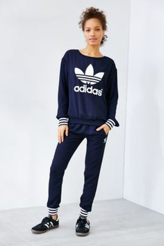 adidas Originals Navy Crepe Track Pant - Urban Outfitters