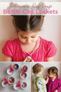 These easy DIY Bottle Cap Lockets are the perfect Valentine's Day craft for your kids to make during their Valentine's Day playdate