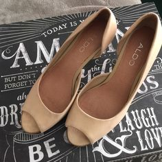 Short heels ALDO tan 3 inch low heels! Worn once for an outdoor wedding that is why sole looks heavily worn, but almost new & very comfortable shoes with padding.  Firm on price! Sorry, NO Trades. ALDO Shoes Heels