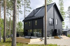 Contemporary Scandinavian cabin made from Honka Fusion logs. Scandinavian Cabin, Scandinavian Architecture, Black House Exterior, Belle Villa, Cabin Design, Log Homes, Cabin Homes, Exterior Design, Architecture Design