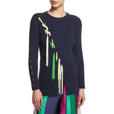 Tanya Taylor Jane Ribbed Tassel-Trim Pullover Sweater ($630) ❤ liked on Polyvore featuring tops, sweaters, midnight, ribbed sweater, relaxed fit tops, crew sweater, crew neck pullover and long sleeve tops