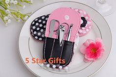 20PCS/LOT Pink Polka Dot Flip flop Manicure Set favor Wedding bridal shower favors $56.00