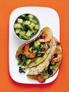 Shrimp Tacos with Blueberry-Avocado Salsa