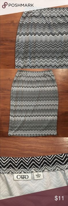 Chevron CATO pencil skirt Very comfortable! Excellent used condition. Material is slightly thick & stretchy. Cato Skirts Pencil