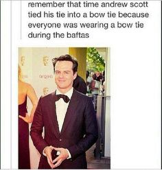 "I bet if someone asked him why he tied his tie into a bow tie, he'd just answer ""That's what people DO!"""
