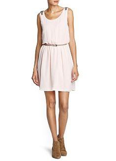 Embellished strap chiffon dress