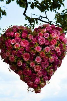 Rose Heart Bouquet hung from tee