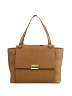 SALVATORE FERRAGAMO Large Bitter Leather Flap Tote. #salvatoreferragamo #bags #leather #hand bags #tote #lining #
