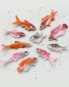 New brooches pinkorange hand-embroidered cotton and wool threads glass beads and clasps with silvering ? Hand Embroidery Art, Embroidery Jewelry, Embroidery Patches, Ribbon Embroidery, Cross Stitch Embroidery, Embroidery Patterns, Embroidery Hoops, Wool Thread, Beaded Brooch
