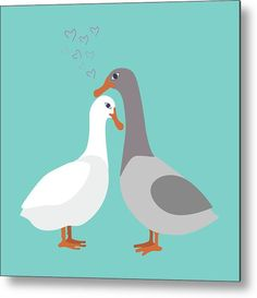 Two Ducks In Love Metal Print by Marina Usmanskaya.  All metal prints are professionally printed, packaged, and shipped within 3 - 4 business days and delivered ready-to-hang on your wall. Choose from multiple sizes and mounting options.