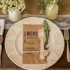 mariage rustique menu, menu pochette kraft personnalise, menu rustique