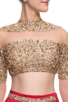 Buy Gold & red embellished lehenga set by Mahima Mahajan at Aza Fashions Stylish Blouse Design, Fancy Blouse Designs, Sari Blouse Designs, Blouse Styles, Saree Jackets, Gold Blouse, Indian Designer Outfits, Gown, Gold Jewellery