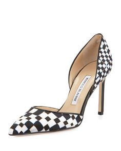 Tayler Printed Pointed d\'Orsay Pump, Black/White by Manolo Blahnik at Neiman Marcus.