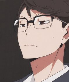 Oikawa is this typ of human who comes secretly to see your team´s play and tells you afterwards that your sucks ; but is actually proud of his little kouhai! -  Oikawa Toru with glasses  - Haikyuu!!!