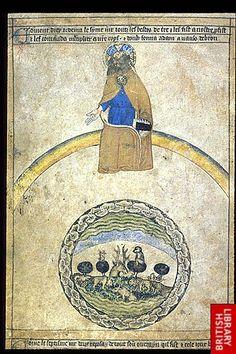 Rainbow in an illumination Medieval Manuscript, Medieval Art, Illuminated Manuscript, Voynich Manuscript, Days Of Creation, Caspar David Friedrich, Horsemen Of The Apocalypse, Biblical Art, British Library