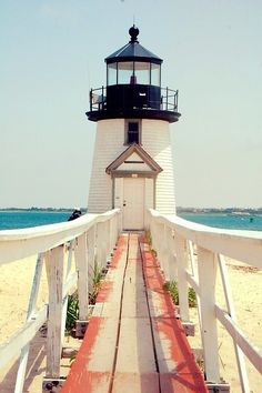 Lovely old lighthouse. Love the sea blue and nantucket reds. Oh The Places You'll Go, Places To Visit, Saint Mathieu, Grands Lacs, Beacon Of Light, Am Meer, To Infinity And Beyond, Coastal Living, Belle Photo