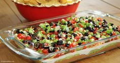 Game Day Seven Layer Dip...yes my craving has now transitioned to seven layer dip instead of chocolate ice cream.